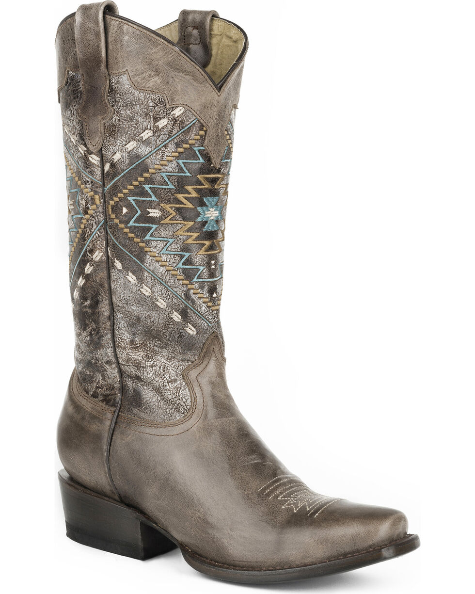 Roper Women's Brown Native Western Boots - Square Toe , Brown, hi-res