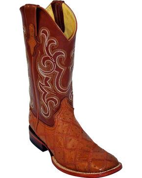 Ferrini Men's Ostrich Patch Exotic Western Boots, Cognac, hi-res