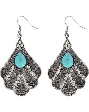 Shyanne® Women's Bling Scallop Earrings, Silver, hi-res