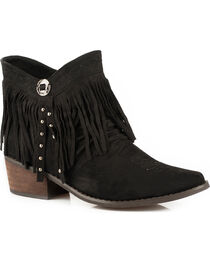 Roper Women's Black Fringy Western Boots - Round Toe , , hi-res