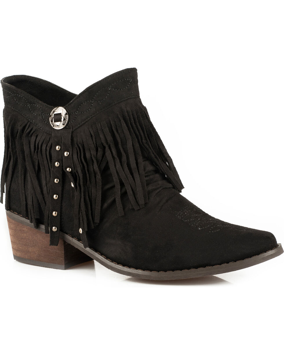 Roper Women's Black Fringe Western Boots - Medium Toe , Black, hi-res