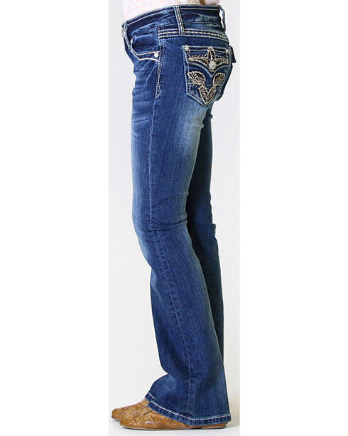 Grace in LA Girls' Charley Embroidered Jeans - Boot Cut, Indigo, hi-res