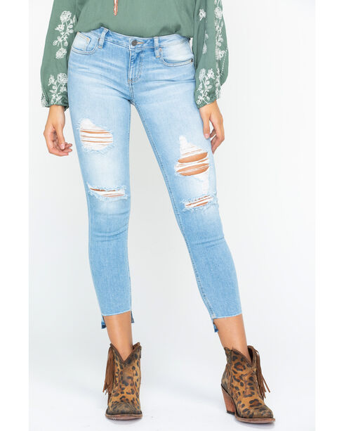Miss Me Women's Not Too Shabby Mid-Rise Ankle Skinny Jeans, Indigo, hi-res