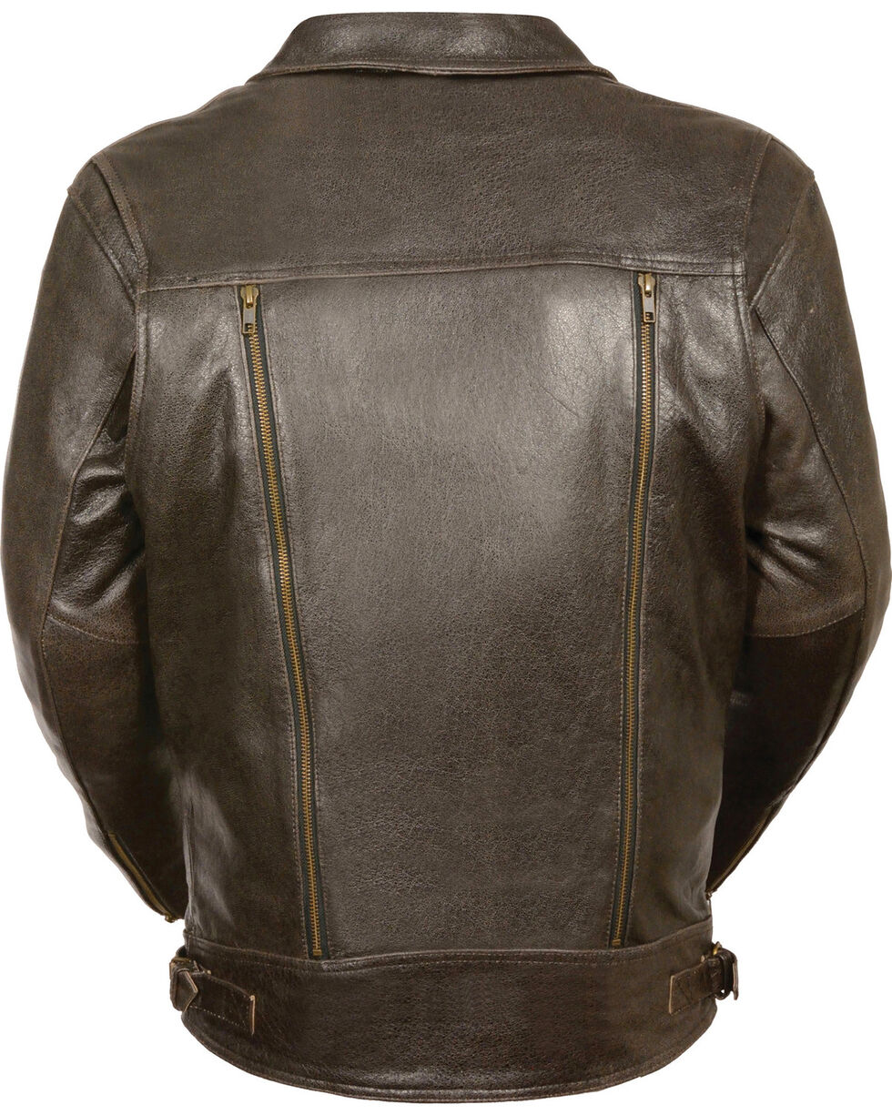 Milwaukee Leather Men's Brown Utility Pocket MC Jacket , Brown, hi-res