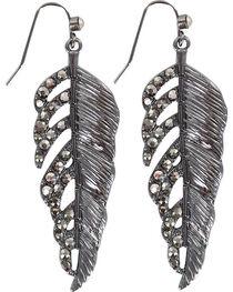 Shyanne® Women's Rhinestone Feather Earrings, , hi-res