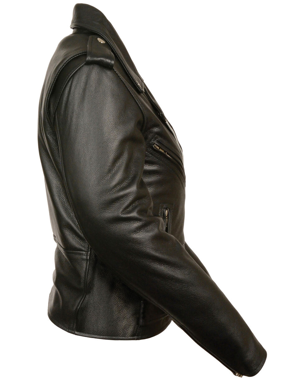 Milwaukee Leather Women's Full Length Traditional Leather Police Jacket, Black, hi-res