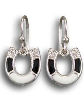 Kelly Herd Women's Black & White Sterling Horseshoe Earrings , Black, hi-res