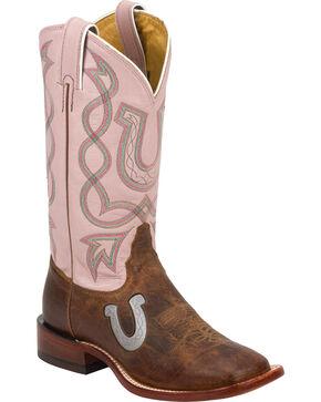 Tony Lama Women's Americana Horseshoe Boots, Tan, hi-res