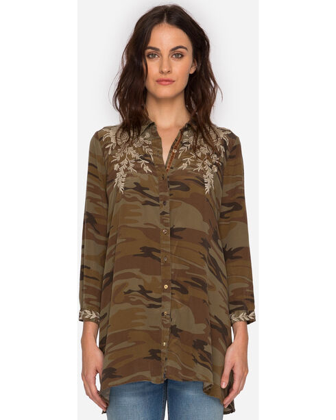 Johnny Was Women's Camo Lennon Swing Shirt Tunic , Camouflage, hi-res