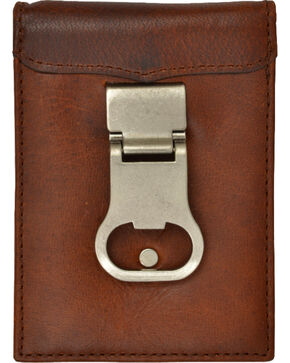 3D Men's Brown Money Clip Wallet with Bottle Opener, Brown, hi-res