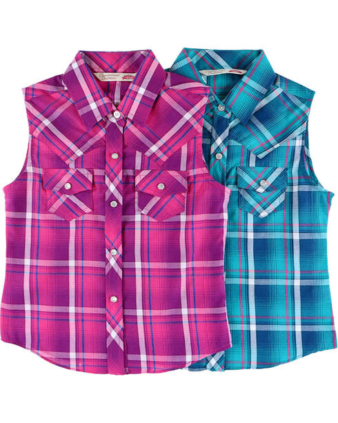 Cumberland Outfitters Girls' Plaid Snap Tank Shirt , Multi, hi-res