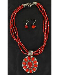 Blazin Roxx Multi Beaded Strand Faux Coral Concho Necklace & Earrings Set, , hi-res