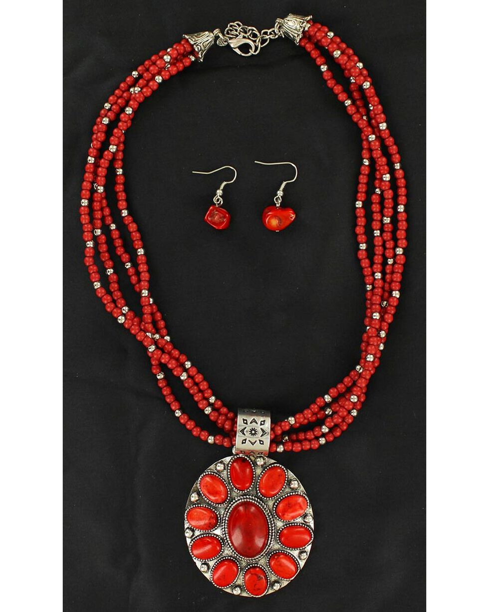 Blazin Roxx Multi Beaded Strand Faux Coral Concho Necklace & Earrings Set, Coral, hi-res