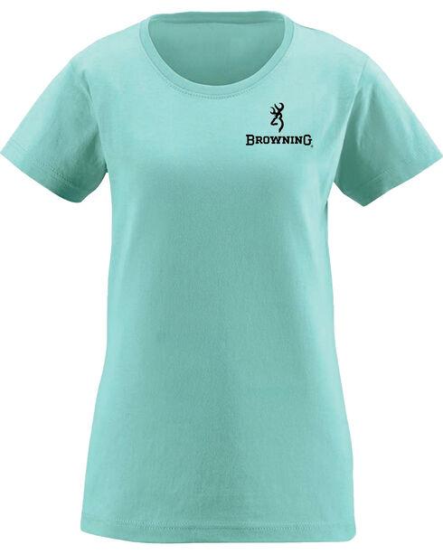 Browning Women's Distressed Black Buckheart Chill Short Sleeve Tee, Blue, hi-res