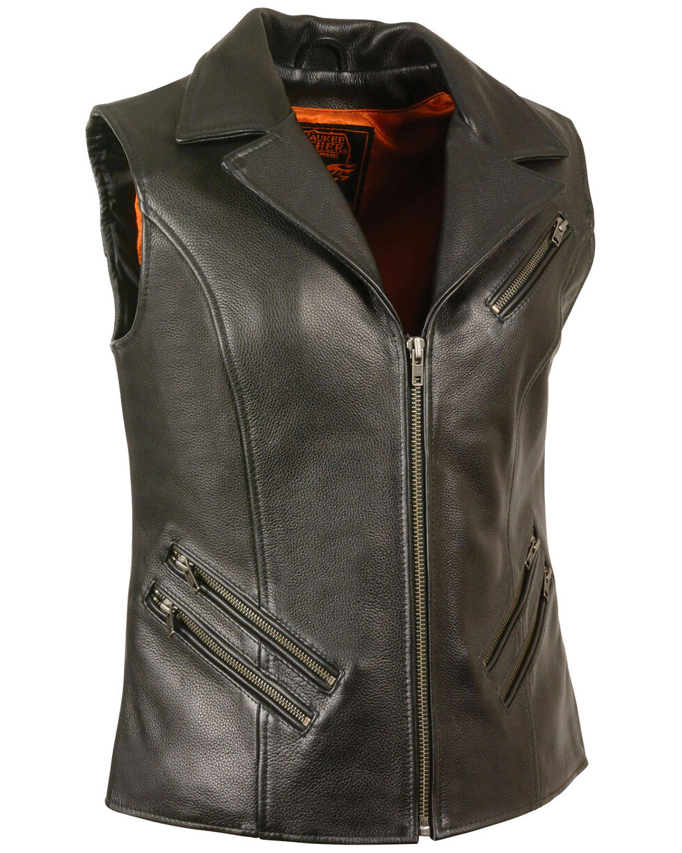 Milwaukee Leather Women's Lapel Collar Long Zipper Front Vest - 3X, Black, hi-res