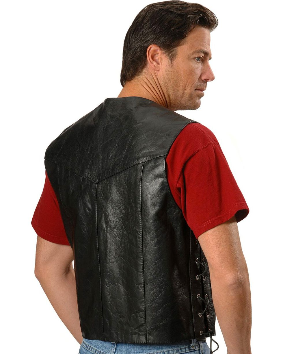 Interstate Leather Men's Motorcycle Leather Vest, , hi-res