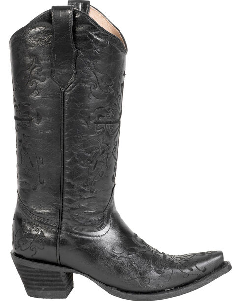 Circle G Women's Cross Embroidered Western Boots, Black, hi-res