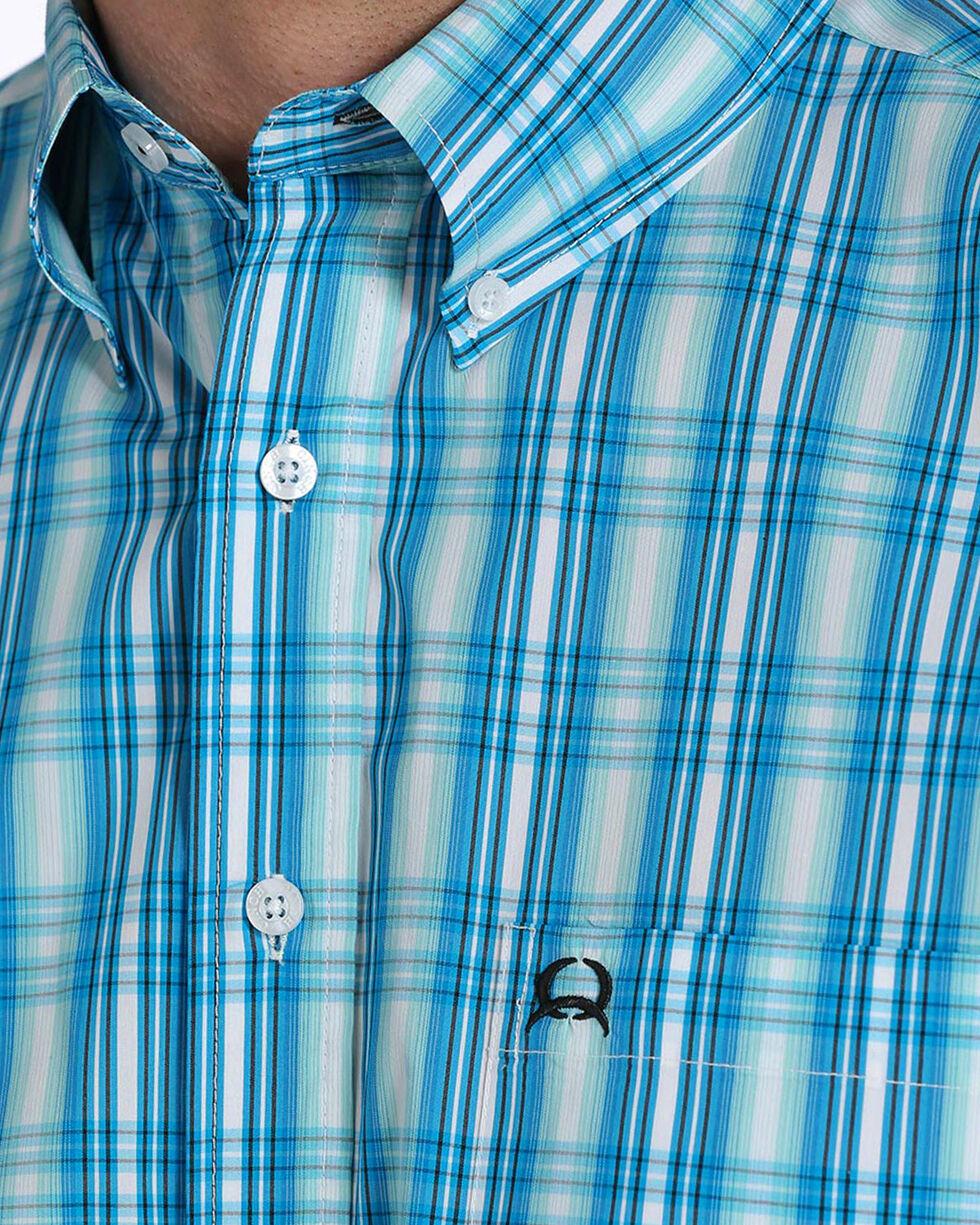 Cinch Men's ArenaFlex Light Blue Plaid Short Sleeve Button Down Shirt, Light Blue, hi-res