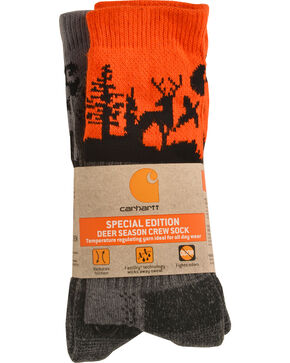 Carhartt Men's Special Edition Deer Season Crew Socks - 2 Pack, Orange, hi-res