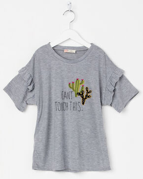 Miss Me Girls' Can't Touch This Cactus Top, Grey, hi-res
