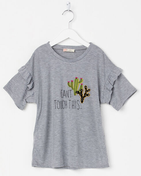 Miss Me Girls' Can't Touch This Cactus Tee, Grey, hi-res