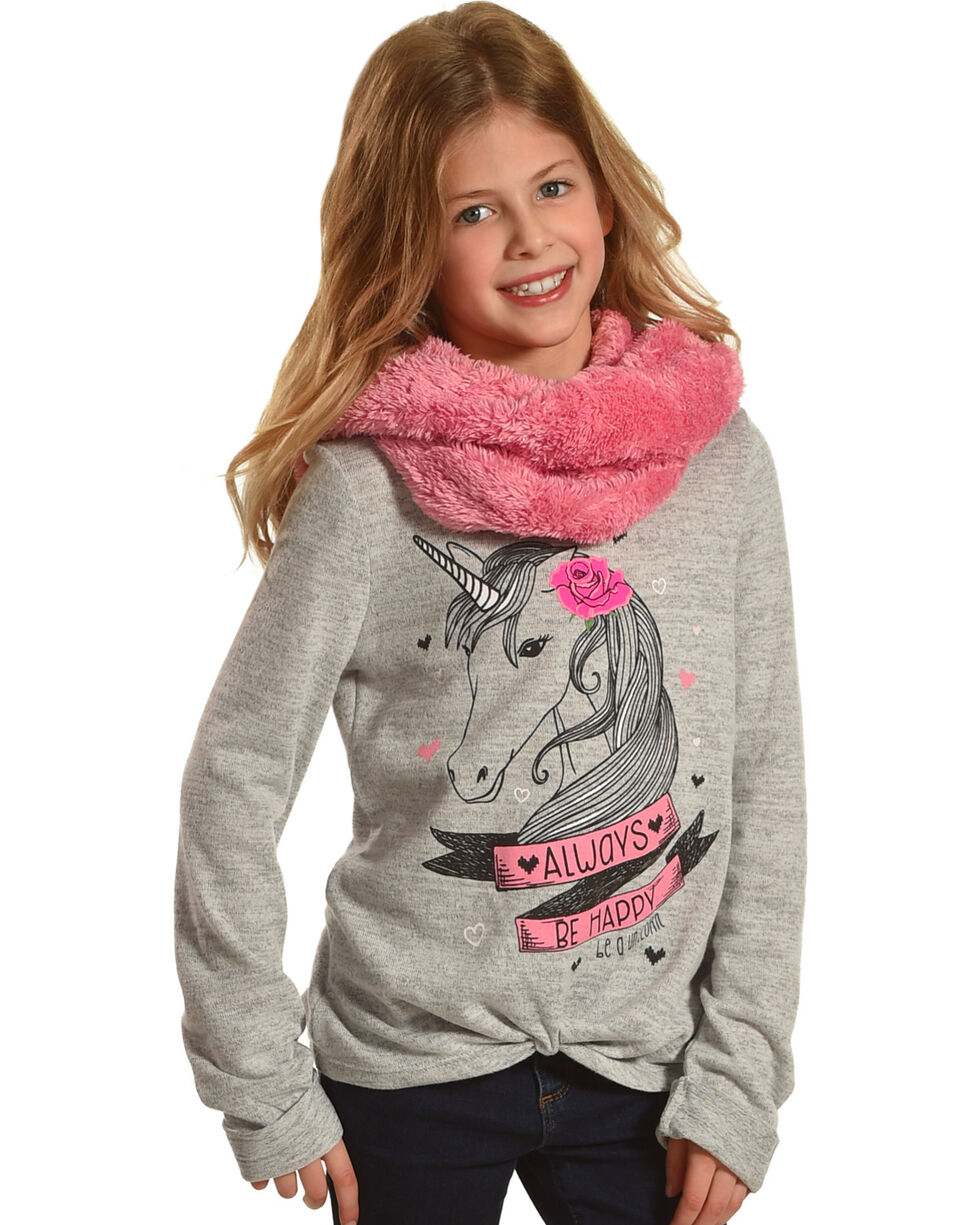 Self Esteem Girls' Always Be Happy Unicorn Tee and Furry Scarf Set, Grey, hi-res