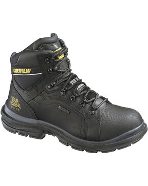 CAT Men's Waterproof Steel Toe Manifold Work Boots, Black, hi-res