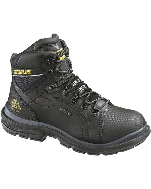 CAT Men's Waterproof Steel Toe Manifold Work Boots, Black, hi-res
