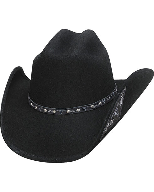 Bullhide Hats Men's Cowboy Collection Don't Look Back Wool Felt Western Hat, Black, hi-res