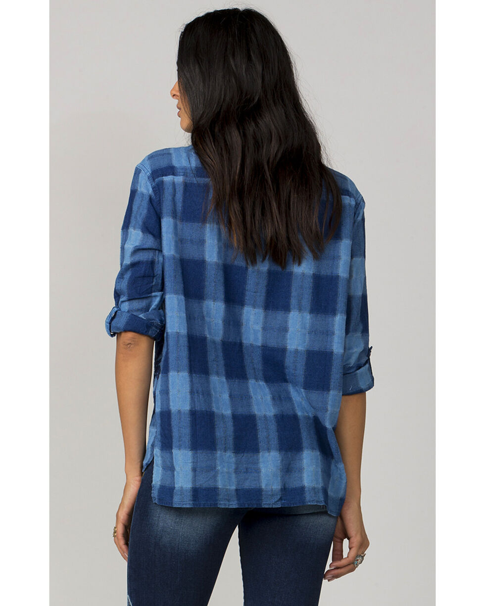 MM Vintage Women's Blue One Love Button-Up Plaid Shirt, Blue, hi-res