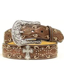 Ariat Brown Studded Cross Inlay Belt, , hi-res