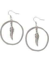 Shyanne® Women's Feather Hoop earrings, Silver, hi-res