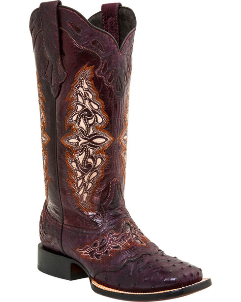 Lucchese Women's Handmade Berry Amberlyn Full Quill Ostrich Boots - Square Toe , Berry, hi-res