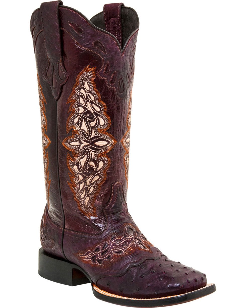 Lucchese Women's Handmade Berry Amberlyn Full Quill Ostrich Boots - Square Toe , , hi-res