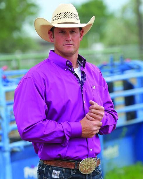 Cinch Men's Purple Solid Plain Weave Western Shirt , , hi-res