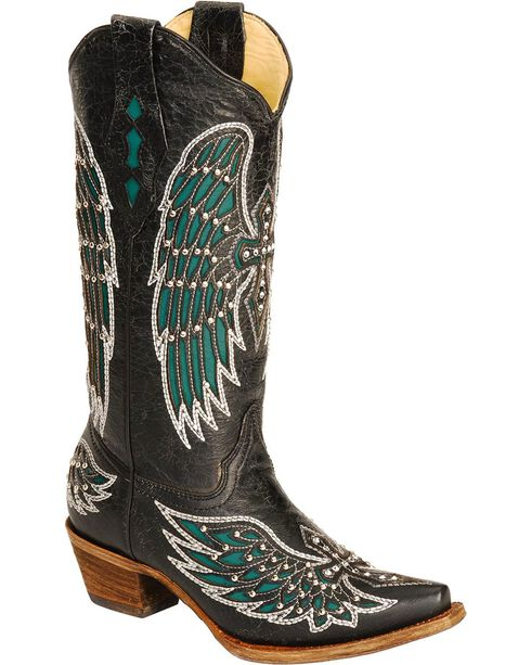 Corral Women's Wing and Cross Western Boots, Black, hi-res