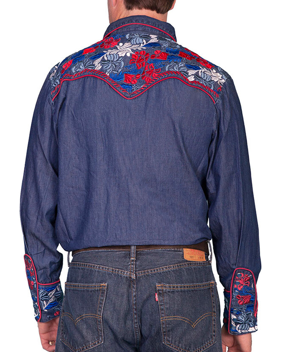 Scully Men's Retro Gunfighter Western Shirt, Indigo, hi-res