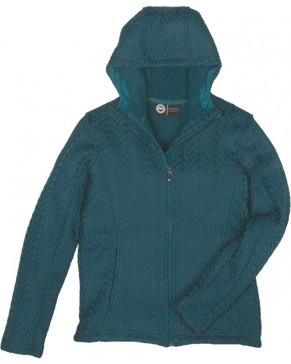 Key Women's Teal Cable Knit Jacket, Teal, hi-res