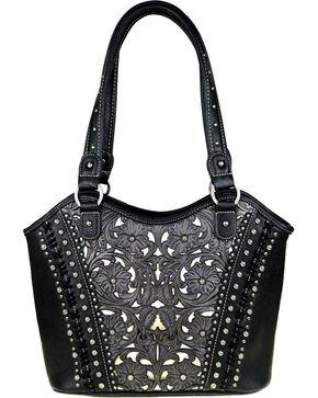 Shyanne Women's Leather Floral Laser Conceal Carry Tote, Black, hi-res