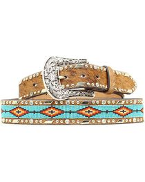 Ariat Women's Aztec Bead and Hair on Hide Belt, , hi-res