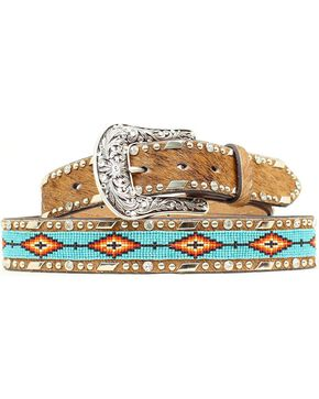 Ariat Women's Aztec Bead and Hair on Hide Belt, Brown, hi-res