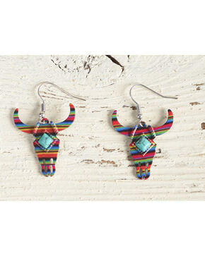 Shyanne Women's Fiesta Longhorn Earrings, Multi, hi-res