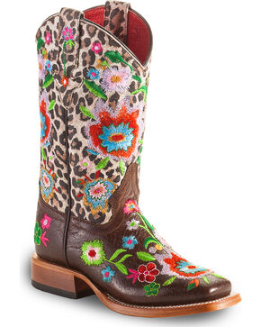 Macie Bean Girls' Smokey & The Bandit Snow Leopard Embroidered Boots - Square Toe, Multi, hi-res