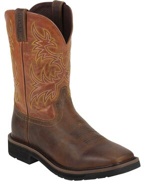 "Justin Men's Rugged 11"" Western Work Boots, Tan, hi-res"