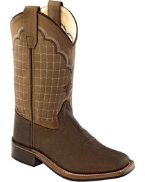 Old West Boys' Brown Stitched Cowboy Boots - Square Toe, , hi-res