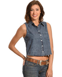 Derek Heart Women's Chambray Crop Top, , hi-res