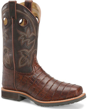 Double H Men's Gator Print Steel Toe Work Boots, Brown, hi-res