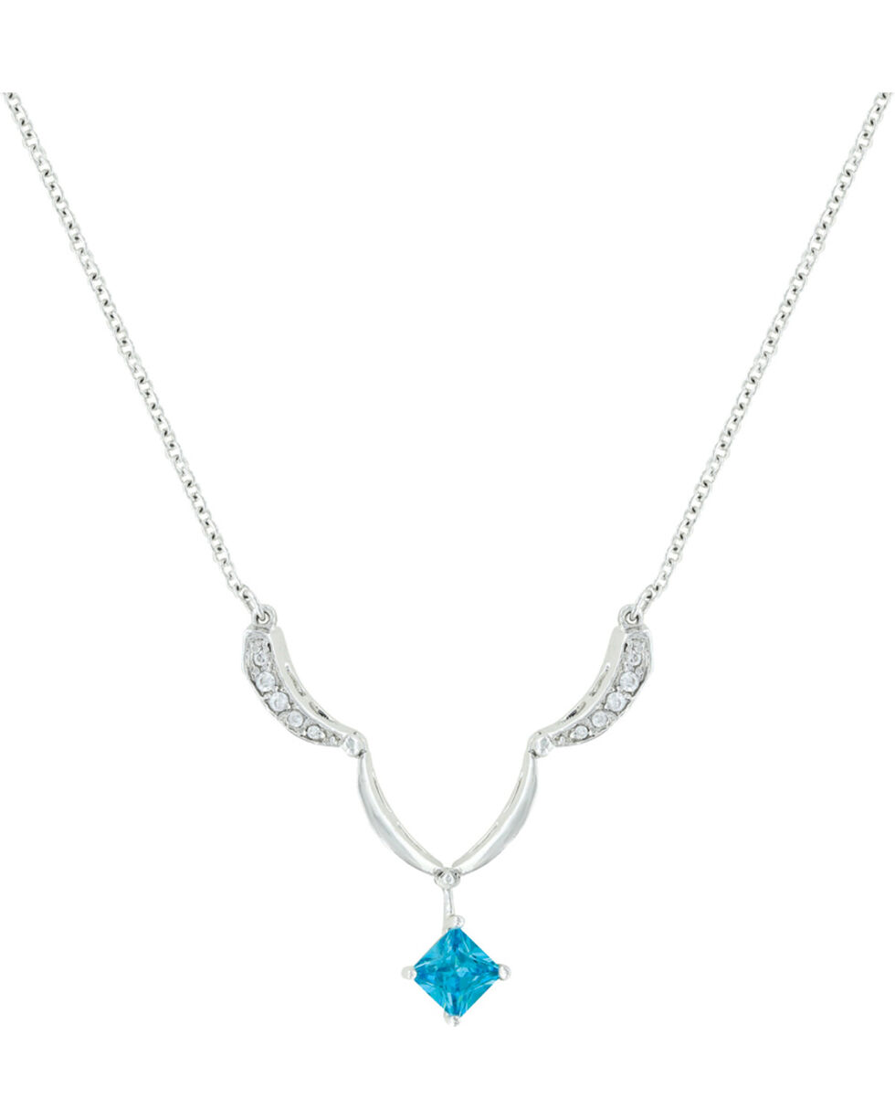 Montana Silversmiths Convertible Blue Diamond River Lights Necklace, Silver, hi-res