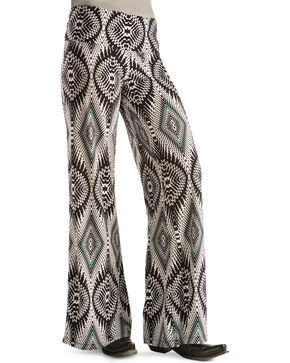 Rock 47 Women's Abstract Print Palazzo Pants, Blk/white, hi-res