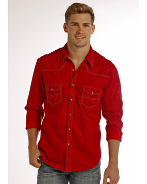 Rock & Roll Cowboy Men's Solid Long Sleeve Shirt, Red, hi-res